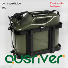 10L Portable Jerry Can+Holder 0.8mm Steel Plastic-coat Army Green Car/Motorbike