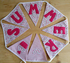 Girls Personalised Pink Floral Bunting Baby Christening Birthday Present