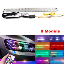 2x 50CM Car Flexible LED Strip Light Universal RGB DRL Turn Signal Lamp w/Remote