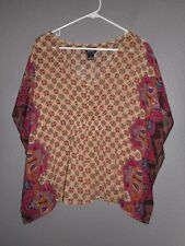 Alloy Apparel~ Paisley Floral Poncho Blouse Batwing/Dolman Sleeve Women's Small