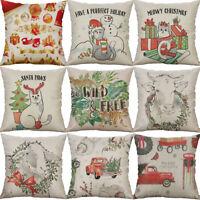 Cotton Linen Christmas snowman Car Home Decorative Pillow Case Cushion Cover
