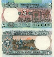 India 5 Rupees (ND) - Farmer on Tractor/p80r UNC