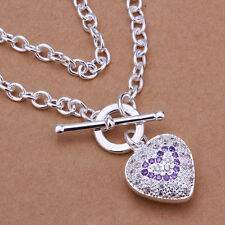 925 Hallmark Sterling Silver Filled Heart CZ Pendant TO Chain Necklace N412