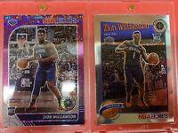 Zion Williamson 2019-20 NBA Hoops Premium Stock Purple Disco Sp Rookie 2 Cards!