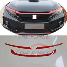 3pc Front Hood Grille Strip Cover Trim For Honda CIVIC 10TH 2016-2018 Modulo Red
