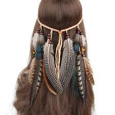 Hippie Indian Feather Shaped Headband Boho Weave Feather Hair Rope Headdress