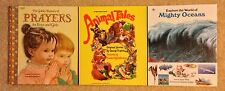 3 Big Golden Books -Treasury of Prayers, Animal Tales & World of Mighty Oceans