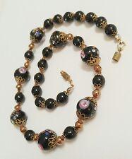 Vintage Venetian Glass Wedding Cake Lampwork Black Red Beads Brass Necklace