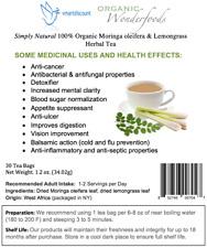 Simply Natural 100% Organic Moringa oleifera Lemongrass Herbal Tea 30 Tea Bags