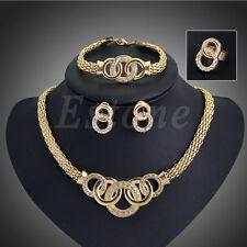Fashion Women Wedding Party Rhinestone Necklace Bracelet Ring Earrings Set New