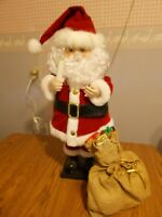 "Vtg.26"" Animated & Illuminated Santa w/ Candlelight & Burlap Bag w/ Gifts - NICE"