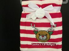 "Christmas Red and White Striped Baby Blanket, ""Santa's Lil Helper,"" NWT"