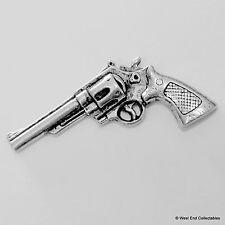 Revolver Pistol Gun Pewter Pin Brooch - British Artisan Signed - G12