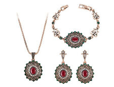 Vintage Antique Gold Plated Turkish Red Flower Necklace Bracelet Earrings Set-TJ