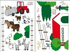 FARM Scene Wall Decals Red Barn Animals Farmer Room Decor Stickers Tractor Sheep