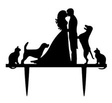 WEDDING CAKE TOPPER-CAT/DOGS-BLACK ACRYLIC-SILHOUETTE-DECORATION-PETS-ANIMALS