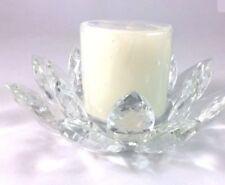 Dramatic Godinger Dublin Crystal Lotus Pillar Candle Holder Candle Light Decor