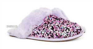 UGG Scuffette II Stellar Sequin Lilac Frost Fur Slippers Womens Size 9 *NIB*