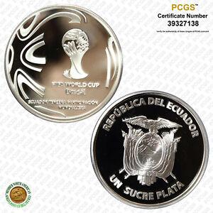 Ecuador 2014 Sucre FIFA World Cup, DCAM PCGS PR 69 Top Grade!