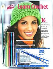 Learn Crochet Kit Susan Bates® 16 Project Book 5 Hooks 1 Afghan Hook Yarn Needle