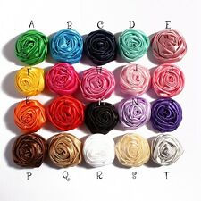 Handmade Rolled Soft Satin Rose Fabric Flowers For Girl Baby Headbands DIY 30pcs