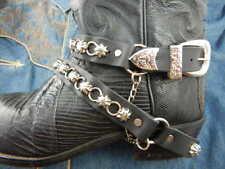 NUOVO di alta qualità in Pelle Nera Cinturini Boot messicano (COPPIA) ANELLI BORCHIE Western