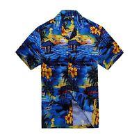 Men Tropical Hawaiian Aloha Shirt Cruise Luau Beach Party Blue Scenic View Palm