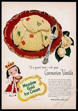 1953 Mary Blair queen girl art Meadow Gold Coronation Vanilla ice cream print ad