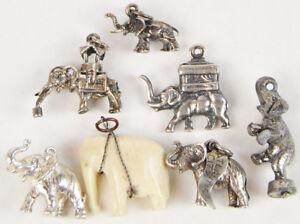 Vintage Elephant Charms for Bracelet Circus Atlantic City Ride Sterling JP LOT