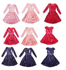 GIRLS LONG  SLEEVE FLORAL VELVET  DRESS,SIZE 4-14