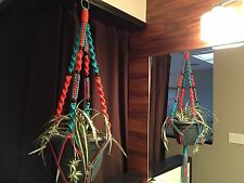 Macrame Plant Hanger Orange and Turquoise Made In USA