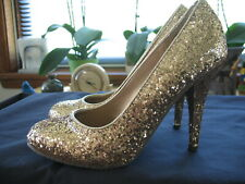 "Candies Gold Glitter Platform Pumps Size 8 M Round Toe High Heels Cabela 4.5"""