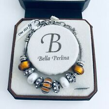 Bella Perlina Jewelry Charm Bracelet Pearl Crystals Beads in Silver Gift Idea