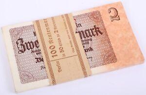 Konvolut 50x 2 Rentenmark 1937 kassenfrisch mit Banderole