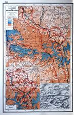 Vintage Antique Original 1920 Map Print Of The Western Front Cambrai And Bourlon