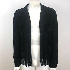 Saint Laurent Curtis Fringed Western Jacket Black Men's Size 46