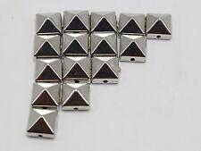 200 Silver Metallic Rock Punk Square Pyramid Rivet Acrylic Studs Beads 8X8mm