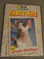 "Vtg Bud Light Beer ""Spuds Mackenzie"" It'S Party Nite Glass Front Metal Edge Sign"