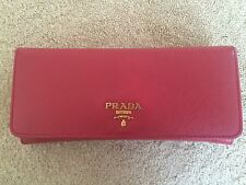 Prada Saffiano Continental Flap Wallet (Red) with authenticity card, box