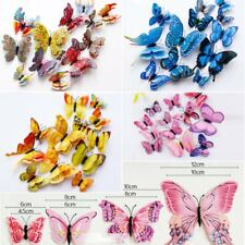 12Pcs 3D Butterfly Wall Decals Removable Stickers Wedding Nursery Decor Magnets
