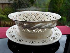 Leeds Pottery Creamware Round Bowl Dish Rope Twist Handles matching stand