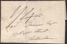 1832 PRE-STAMP ENTIRE NAVAN, IRELAND TO CHELTENHAM, ENGLAND, 1/4 RATE