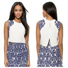 Elizabeth And James Large Cameo Blue White Rose Printed Silk Crop Top Tank $255