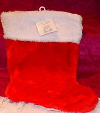 HOLIDAY TIME *RED AND  WHITE CHRISTMAS STOCKING * 15 INCHES FROM TOP TO BOTTOM