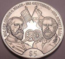 Gem Unc Liberia 2000 5 Dollars~Robert E. Lee And George G. Meade~Gettysburg~Fr/S