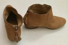 APRI Italian Shoemakers Saddle Brown Suede Ankle Boots Booties Women's Size 9.5
