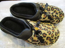 AVON Memory Foam LEOPARD PRINT  Slippers -Terry and Black Satin Upper-Small 5/6
