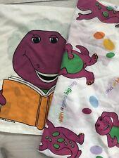 Vintage Barney The Dinosaur Pillowcase And Twin Flat Sheet