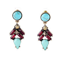 NEW Stylish Anthropologie Honore Teal Red Yellow Beaded Drop Earrings