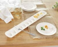 "Egg Tray and Fork Mud Pie 12 Divests Egg and Oyster Serving Trays 3"" x 19"""